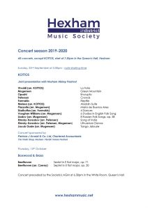 Hexham District Music Society Concert season 2019-2020