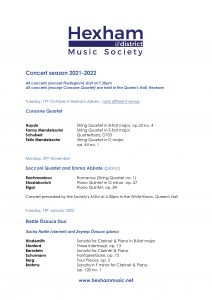 HMS 2021-22 Concert List